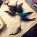 Dyed rooster tails and some black goose feathers.