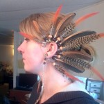 My lovely profile (blech!) and the pheasant feather ear wrap.